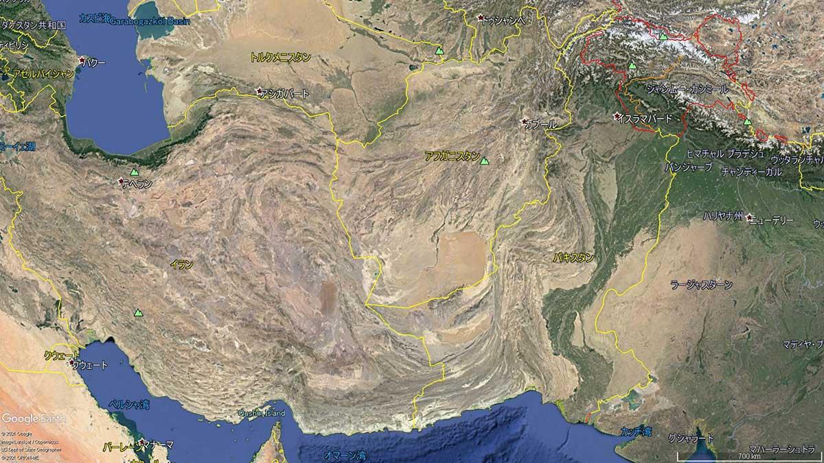 中東付近の衛生写真(Google Earthより)