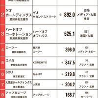 【チェーン中古売上ランキング】BO、ゲオ、HOの3強変わらず トップ10合計売上4144.2億円